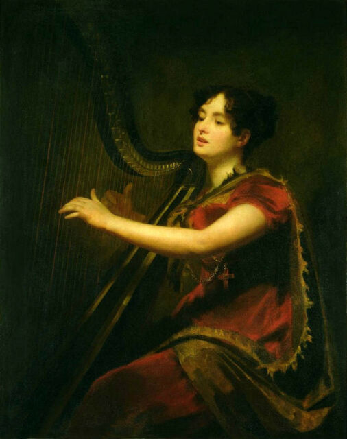 Excellent oil painting female portrait nice young lady playing Harp Hand painted