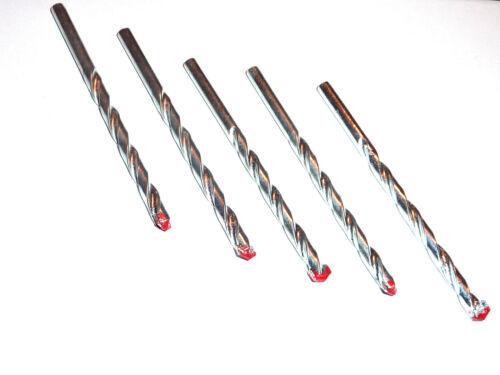 5X MASONRY DRILL BITS 3,4,5,6,7,8,9,10MM  PACK//SET OF 5 //SIZES 3-10 MM BRICK//CON