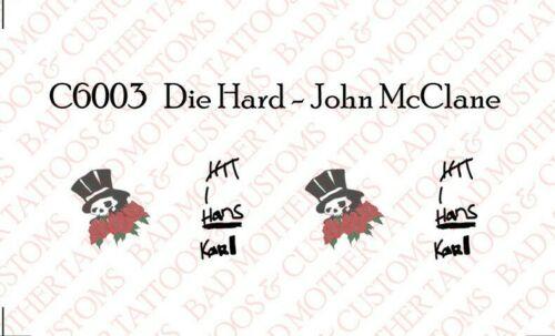 Die Hard John McClane Bruce Willis 1//6 Custom Tattoo Decal for 12 inch figures