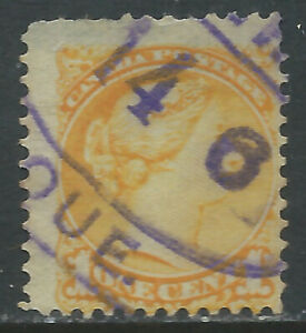 Canada #35(51) 1870 1 cent yellow QUEEN VICTORIA MONTREAL PARCEL POST Canacel