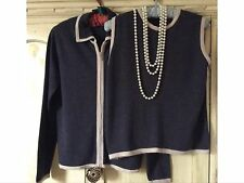 LAURA ASHLEY MERINO WOOL TWINSET CHARCOAL GREY STONE TRIM SIZE L BUY NOW £39