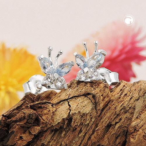 Ohrstecker Ohrringe Schmetterling mit Aquamarin /& Zirkonia weiß 925 Silber