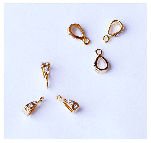 20 pcs Bails Rhinestone Crystal with Top Loop Gold Plated AC037