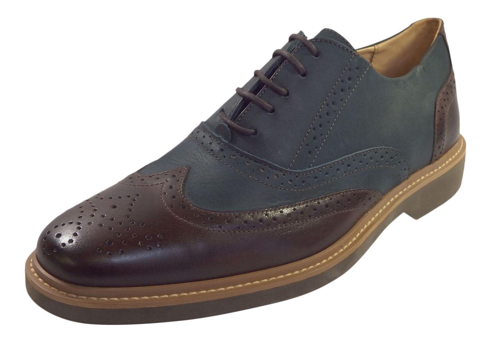 Anatomic Mens Pilar Indigo Castanho Luxury Leather Brogue Goodyear Welted Shoes