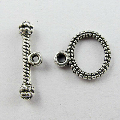40Sets Tibetan Silver Tone Oval Toggle Clasps P901