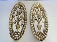 2 Vintage Syroco Gold Floral Flower In Pot wall hanging plaque decor