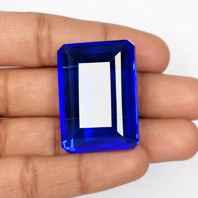 Emerald Cut Rich Blue Topaz 115.10 Ct Faceted Loose Gemstone For Jewelry AY-451