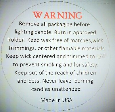 "1.2"" WARNING / CAUTION LABELS 50/100 LOTS,for Jar Candles, Made in USA"
