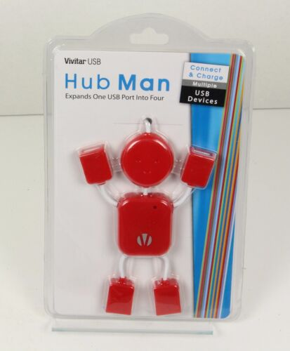 Vivitar USB Red HUBMAN 4 USB 2.0 Hi-Speed Ports