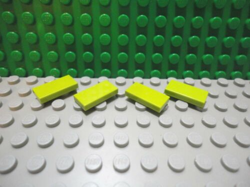 Lego 4 Lime Green 1x2 Finishing Tile NEW