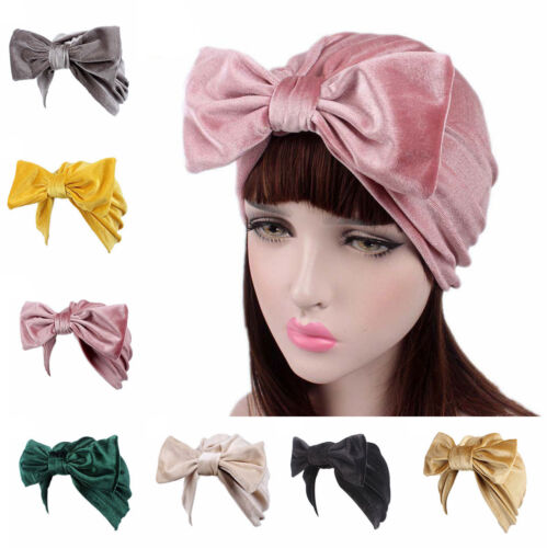 Womens Muslim Velvet Turban Hat Head Wrap India Style Bowknot Chemo Hijab Caps