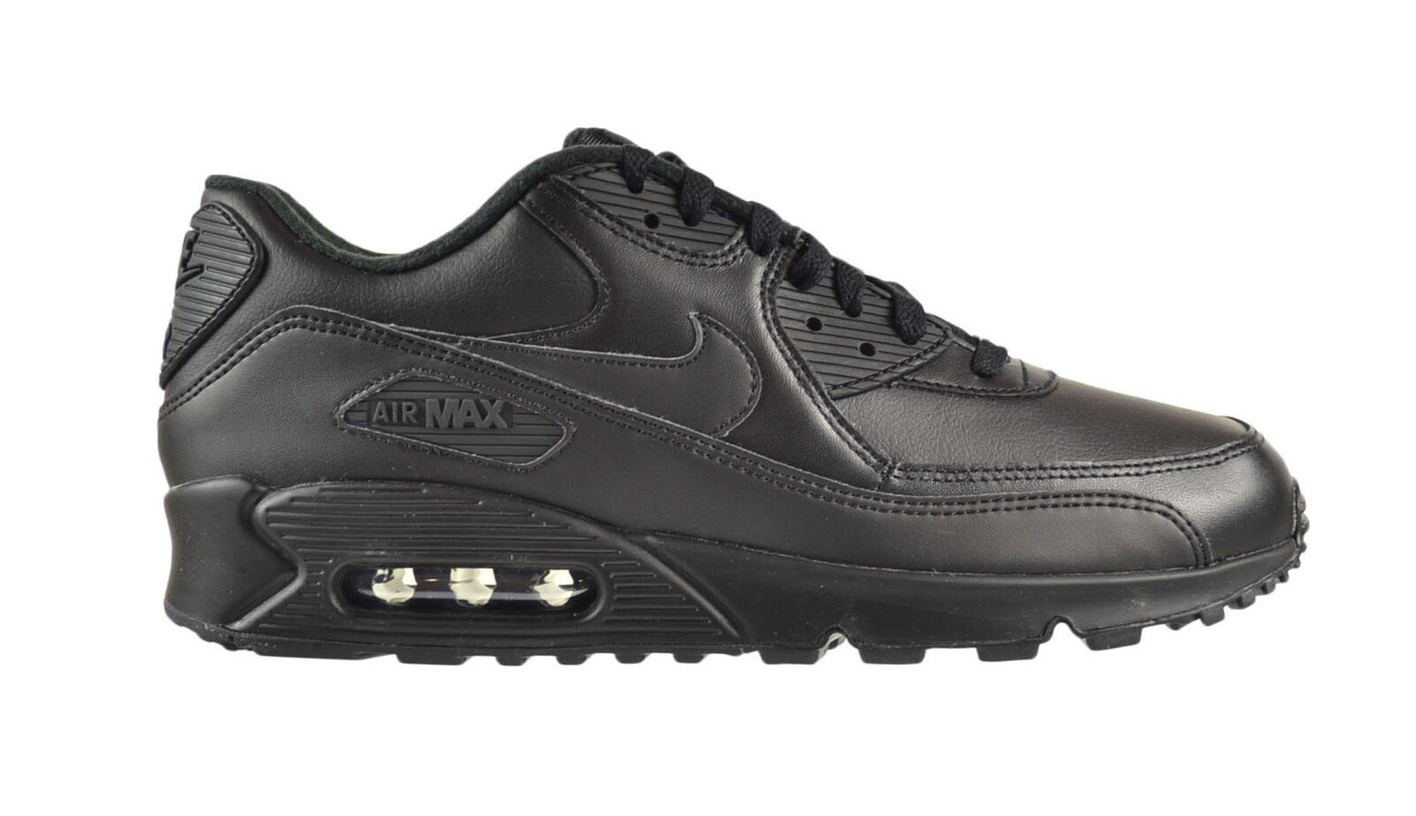 Nike Air Max 90 Leather Men's Shoes Black/Black 302519-001 Brand discount