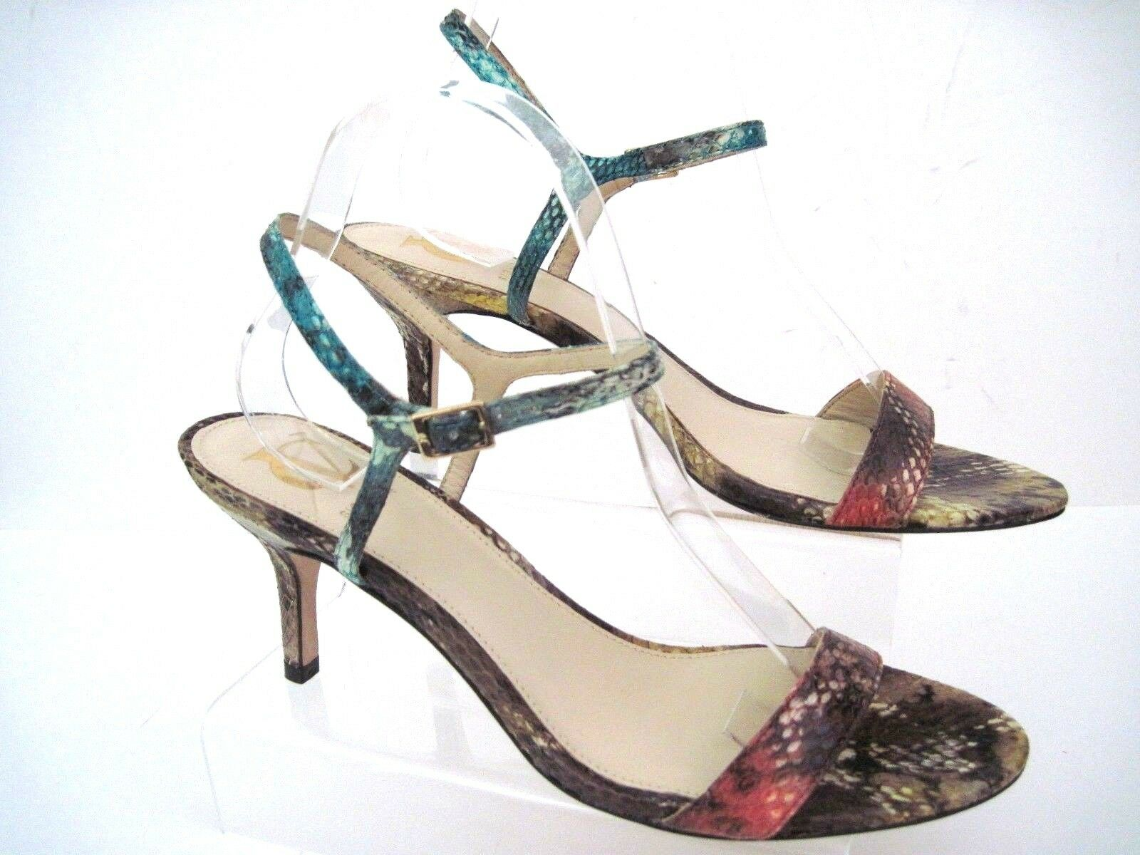 VC SIGNATURE by Vince Camuto Snakeskin Open Toe Ankle Strap Heels Größe 10 M