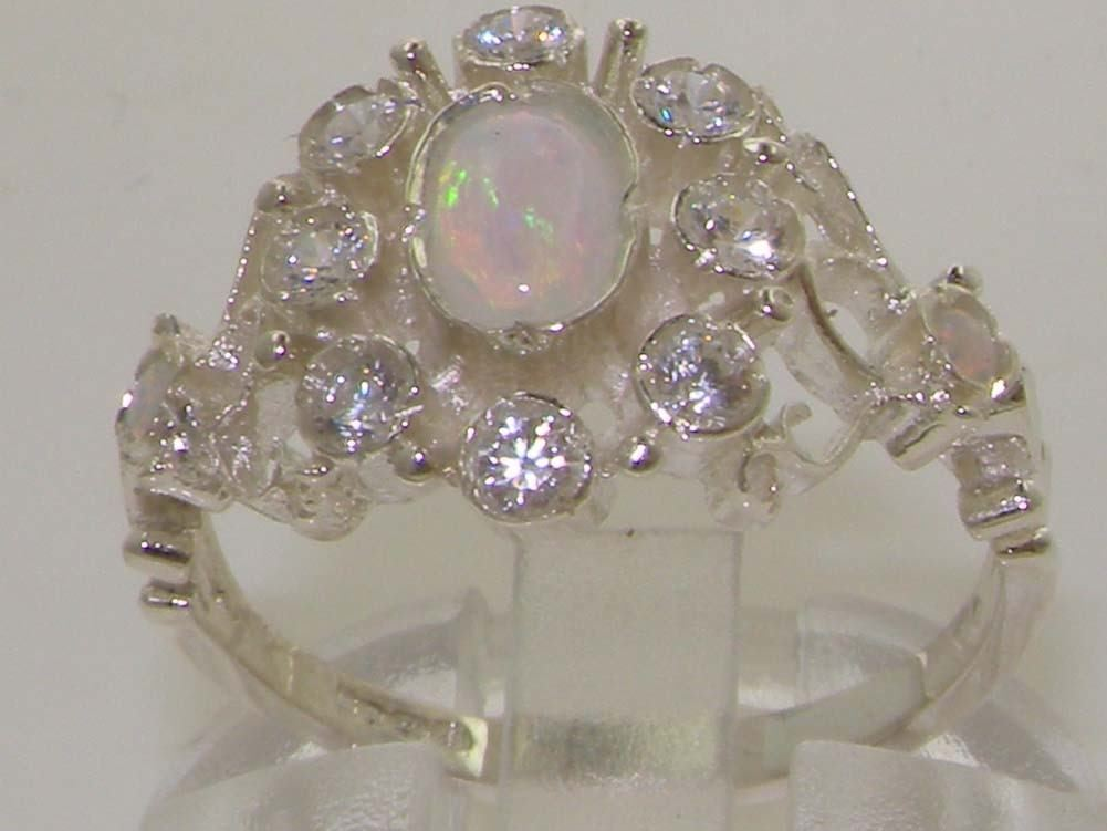 High Quality Opal & Diamond Solid 9ct White gold Ladies Ring