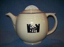 Vintage HALL's CHINA Round Medallion Silhouette Tavern 9 Cup Tea Pot w/Lid~USA