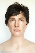 Ash Black Brunette Medium Human Hair  Straight Human Men Men Wig