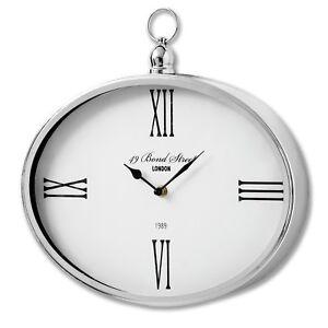 28cm-Small-Oval-Bond-Street-Wall-Clock-Silver-White-Roman-Numerals-Contemporary