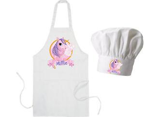 PERSONALISED UNICORN GLITTER APRON XMAS GIFT COOKING BAKING ADULTS CHILD KIDS