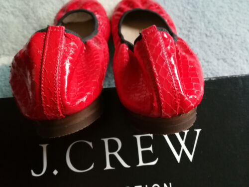 J Chaussures cuir peau 8 Uk Ballerines Glossed 5 Usa en en Rouge serpent Crew Real de plates rAq84rB