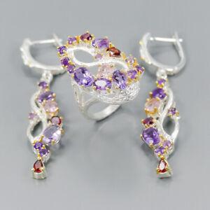 Vintage-Natural-Amethyst-925-Sterling-Silver-Ring-Size-8-R101429