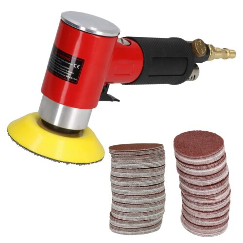 """2/""""/& 3/"""" Mini Air Angle Grinder Polisher With Backing Pad 200 Mixed Grit Discs"""