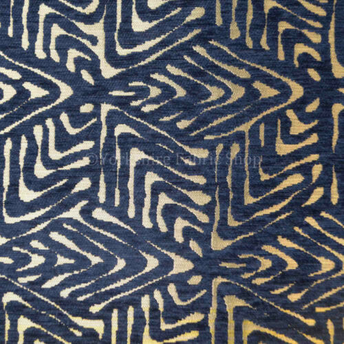Bleu marine or brillant géométrique 3D Chequer Cube Design Chenille Tapisserie Tissu
