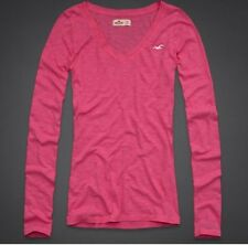 Hollister by Abercrombie PINK L/S Shirt NEW Medium M Embroidered Seagull Top
