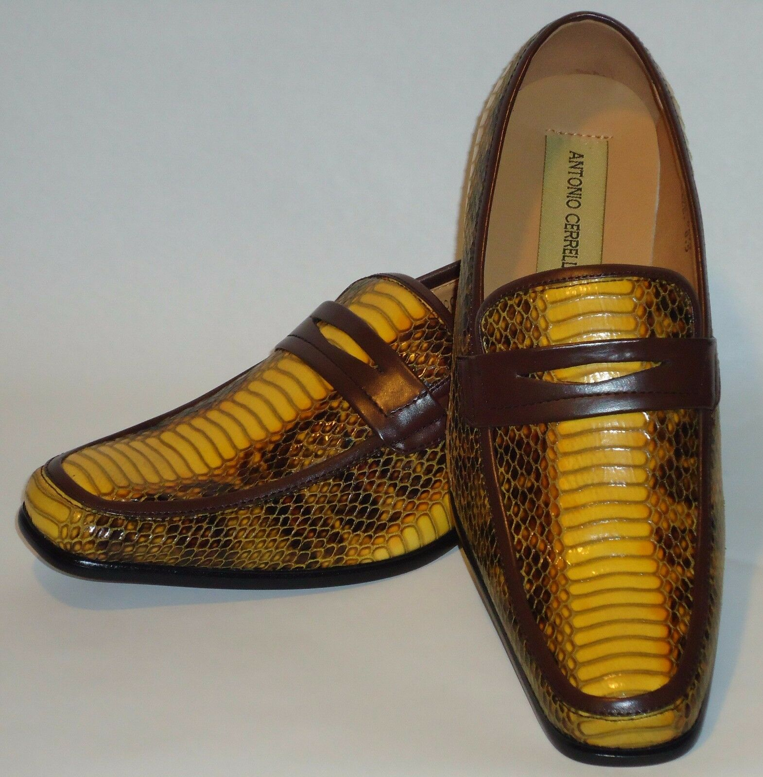 Loafers Uomo Golden Yellow & Braun Snake Look Dress Loafers  Schuhes Antonio Cerrelli 6494 ef814a