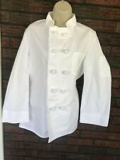 White Chef Jacket 34 Frog Closures Breast Arm Pockets Cintas Solid Long Sleeve