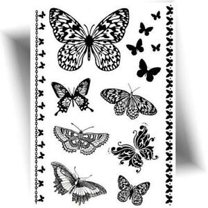 Tatouage Temporaire Dentelle Papillon Tattoo Ephemere Noir Provisoire Ebay