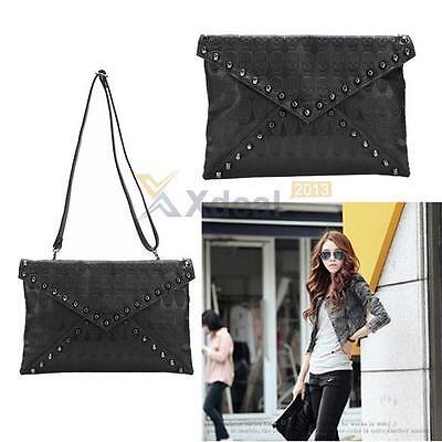 New Punk Skull Spike Envelope Women Lady Leather Clutch Handbag Bag Tote Black
