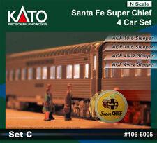 N Scale Kato 106-6005 4 Car Set C Silver Santa Fe Super Chief Passenger Cars