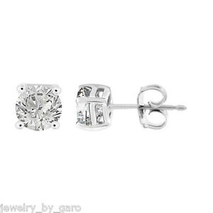 Image Is Loading Platinum Diamond Stud Earrings 1 02 Carat Certified