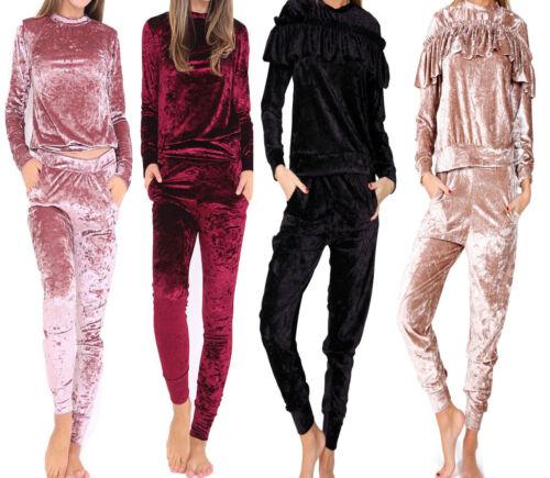 Womens Crushed Velvet Lounge Suit Sweatshirt Pant Womens Lounge Wear Tracksuit