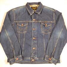 Men's WRANGLER Vintage Indigo Dark Blue Denim Trucker Jacket XXL #D4300