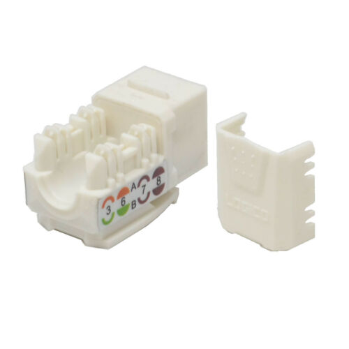 50 pack lot Keystone Jack Cat5e White Network Ethernet 110 Punchdown 8P8C