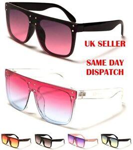801337f2517 Classic Bold Frame Flat Top Oversized Designer Womens Sunglasses 100 ...