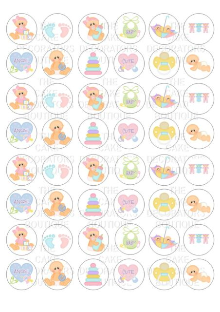 48 Baby Shower Iced / Icing  Mini Cupcake Topper Edible Fairy Cake Bun Toppers