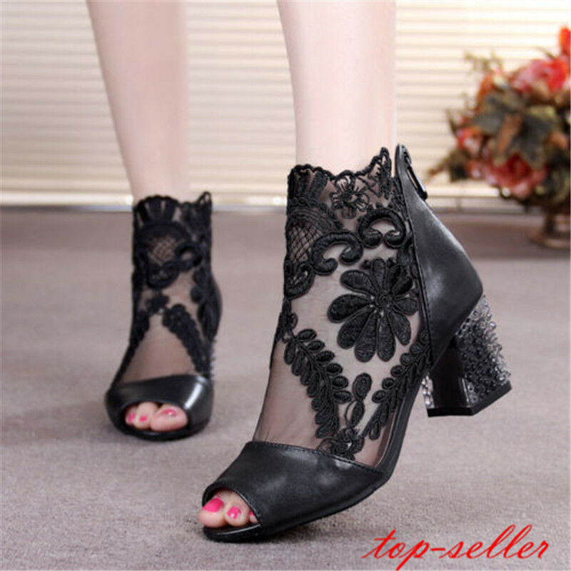 UK Ladies block chunky high heel lace mesh open toe sandals boots shoes Size New