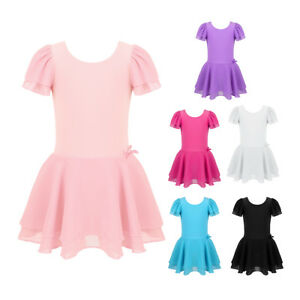 Kids-Girls-Gymnastics-Leotards-Dress-Ballet-Dance-Tutu-Skirts-Dancewear-Costumes