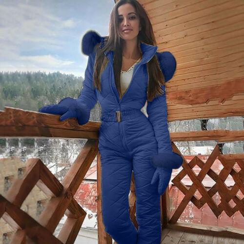 Women Casual Thicken Hooded Snowboard Snowsuit Outdoor Sports Zipper Ski Suit UK
