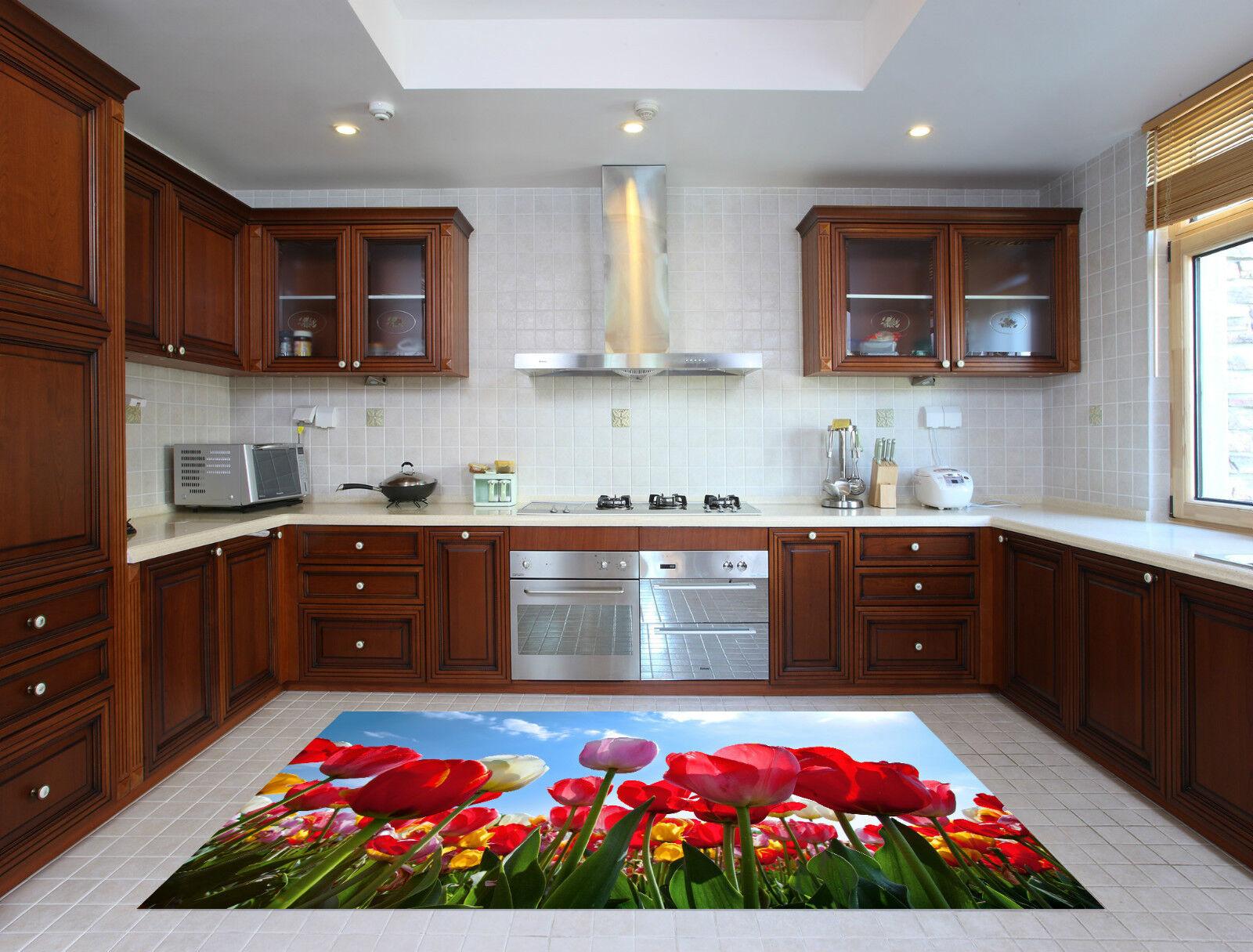 3D Bright Tulips Kitchen Mat Floor Murals Wall Print Wall Deco AJ WALLPAPER CA