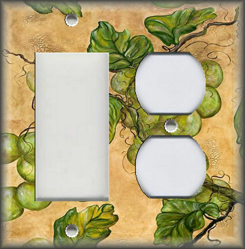 Metal Light Switch Plate Cover Tuscan Kitchen Decor Green Grape Vines Grapes