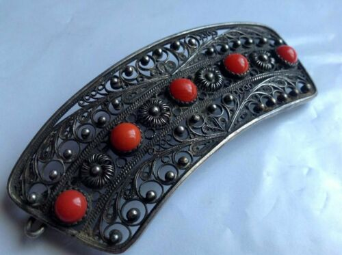 Antique French Victorian Silver Plated & Stone Cor