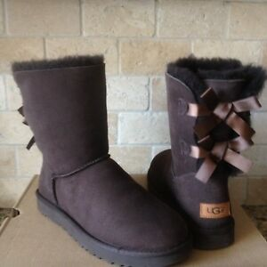 083233597ae Details about UGG SHORT BAILEY BOW BOWS II CHOCOLATE BROWN SUEDE BOOTS SIZE  US 9 WOMENS