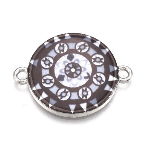 10pc Printed Alloy Enamel Links Smooth Flat Round Pendants Mini Charms 20.5x27mm