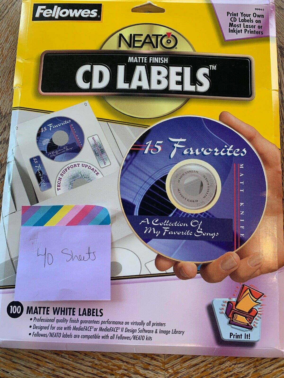 Fellowes Neato 99941 Matte Finish Cd Labels 80 Labels 40 Sheets For Sale Online