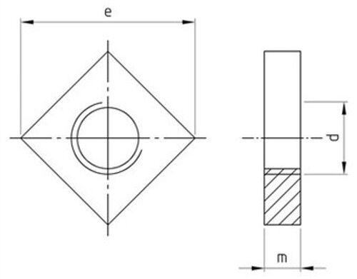 DIN 562 Vierkantmuttern niedrige Form Edelstahl A2 A4 verschiedene Abmessungen