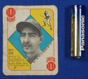 Vintage US Baseball Card [ Billy Cox , Bunt ] Brooklyn Dodgers