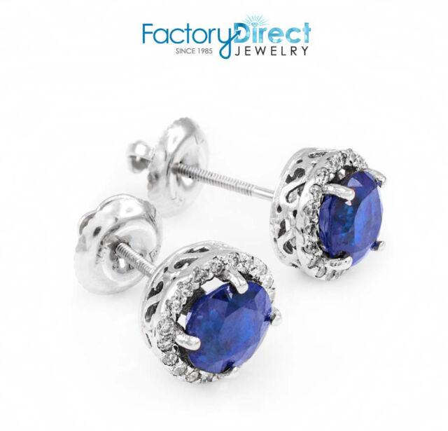 14k White Gold Blue Shire Diamond Earrings